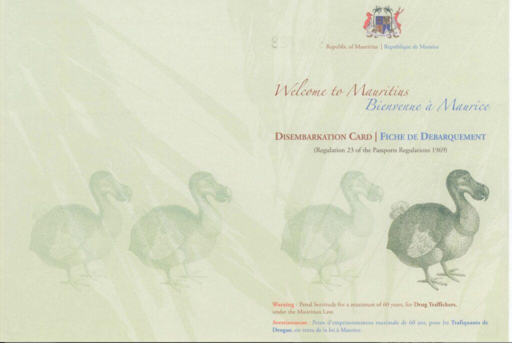 Disembarkation Card 1 Mauritius