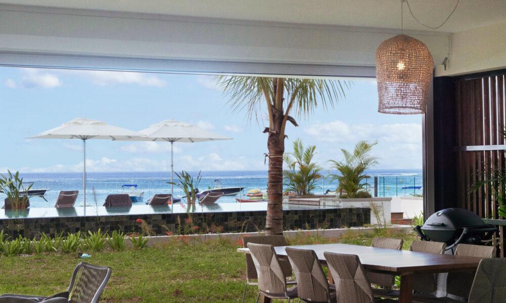 O'Biches beachfront ground floor terrace sea view pool