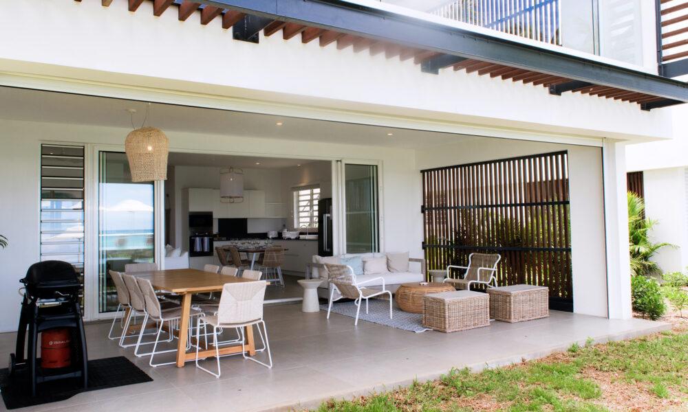 beachfront Apartment Trou aux Biches ground floor terrace