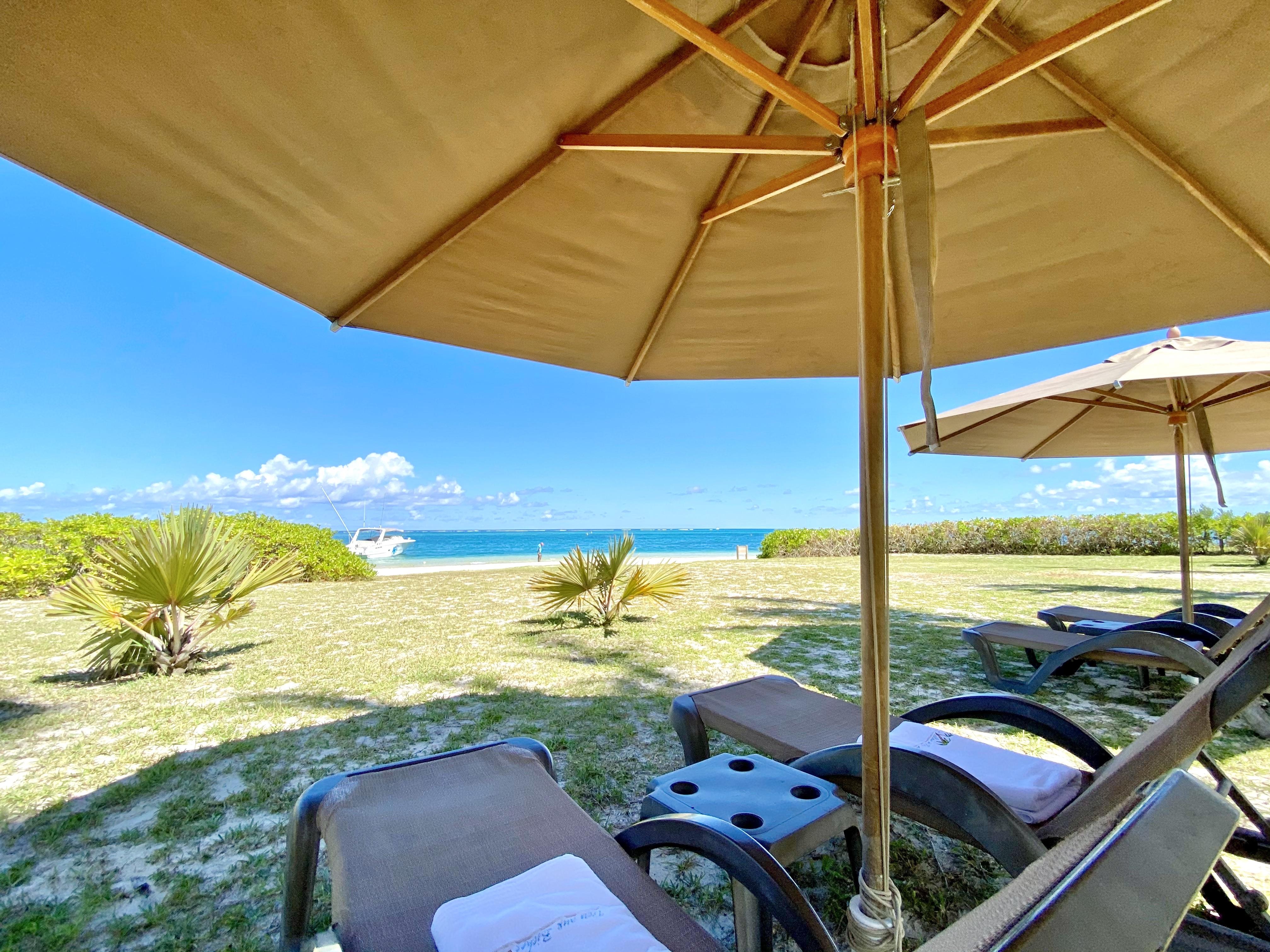 sun beds trou aux biches private beach