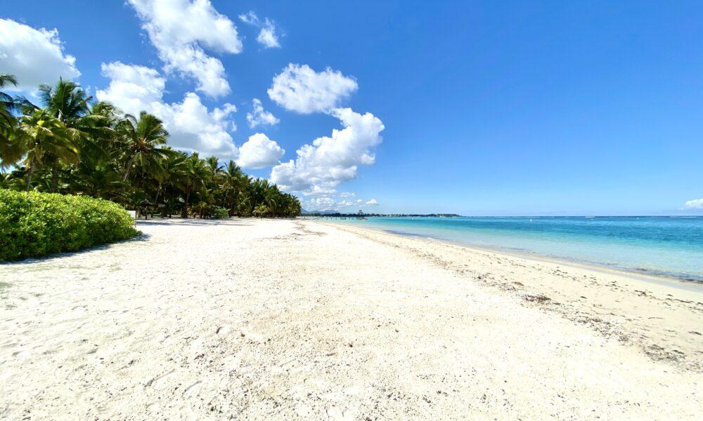 beach to the left hotel trou aux biches